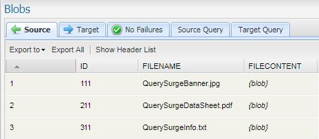 QuerySurge and BLOB Data – Customer Support