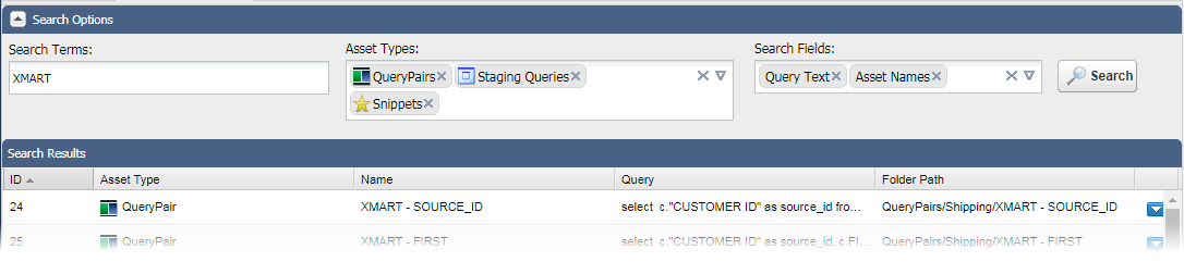 QuerySurge Full Text Search – Customer Support