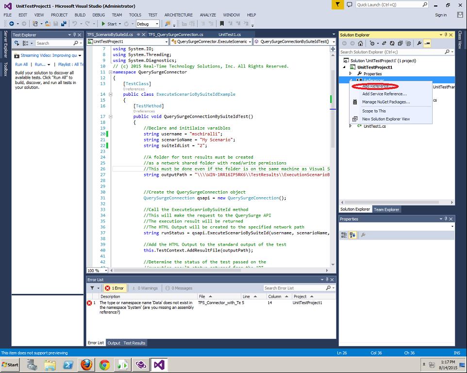 Test Management Tool Connectors: TFS (VSTS 2013) \u2013 Customer Support